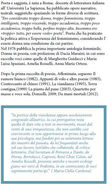Bianca Maria Frabotta bio e critica